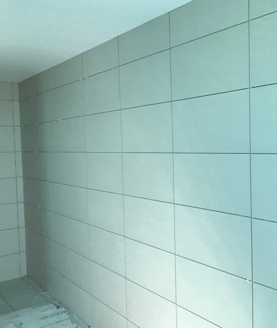 white tiled walls